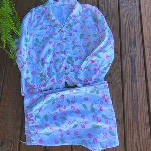 Oh! Cherry, I'm in Love! ❤️ Garnet Hill Organic Cotton Flannel PJ's-XL